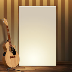 3d render of a blank canvas leaning on wall with a guitar