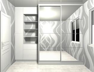wardrobe with mirror sliding doors 3D rendering design