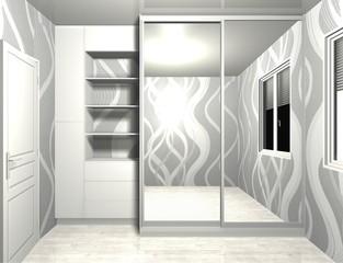 wardrobe with sliding doors 3D rendering