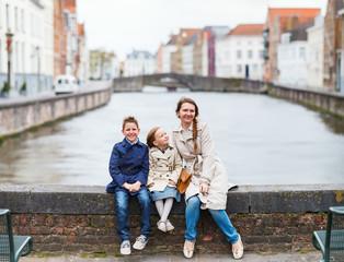 Mother and kids outdoors in Belgium