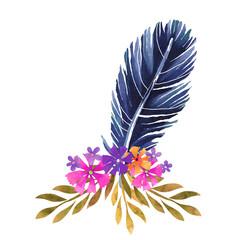 Watercolor boho posy, feathers, flowers, leafs