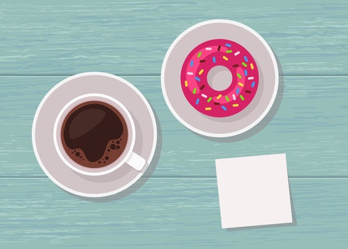 Illustration of top view table with cup of coffee, donut and blank note for text