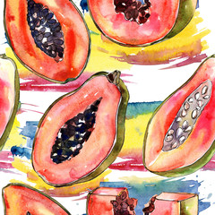 Exotic papaya healthy food in a watercolor style pattern. Full name of the fruit: papaya. Aquarelle wild fruit for background, texture, wrapper pattern or menu.