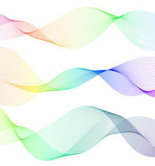 Design elements Wave colors lines on white background isolated11