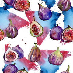 Exotic figs healthy food in a watercolor style pattern. Full name of the fruit: figs. Aquarelle wild fruit for background, texture, wrapper pattern or menu.