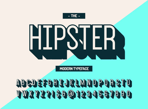 Hipster modern typeface 3d style. Cool font. Alphabet trend typography for party poster, t shirt, promotion, label, special offer. Vector Illustration 10 eps