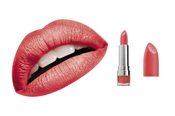 Red glossy satin lipstick and high resolution woman lips, isolated on white background, clipping path included
