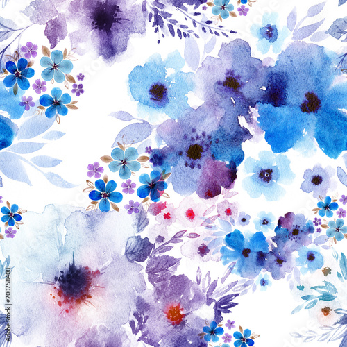 Hand Painted Artistic Composition Anemone And Periwinkle