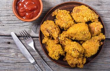 Tasty fried chicken wings