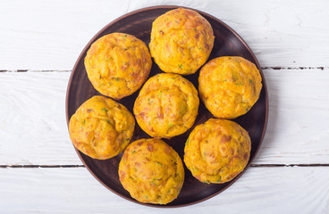Homemade baked muffins with cheese