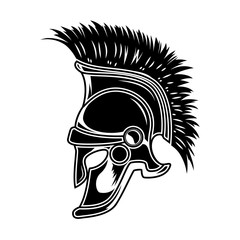 Spartan helmet isolated on white background. Design element for poster, card, t shirt.