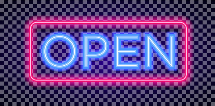 Vector neon open sign light style with colorful red frame on transparent background for shop, cafe, restaurant, banner, promotion, poster party. Bright signboard. 10 eps