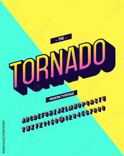 Tornado modern typeface colorful 3d style  Cool original