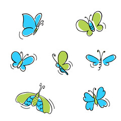 color butterfly's made in doodle style. Kid illustration