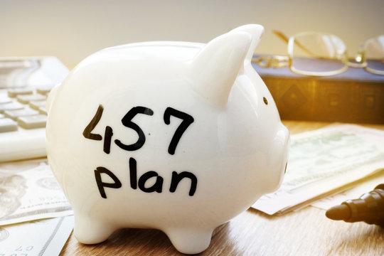 Retirement plan. 457 plan written on a side of piggy bank.
