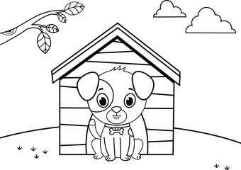 Black and white cartoon dog character. (Vector illustration)
