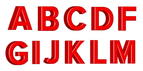 Font set with letters Glossy red paint letters. 3D render of bubble font with glint. Vector illustration