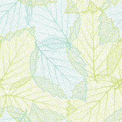 Seamless nature background with  leaves