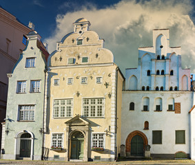 Oldest medieval buildings (currently those are public architectural museum) in old Riga - capital of Latvia and a famous Baltic city known due to its unique medieval and Gothic architecture