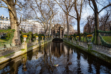 Medici Fountain in the Luxembourg Garden (Jardin du Luxembourg)during winter time , Paris, France.