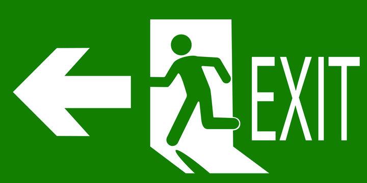 Зеленый знак аварийного или пожарного выхода с указанием направления движения. Векторная иллюстрация.