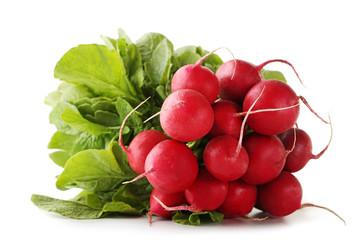 Red radishes isolated on white background