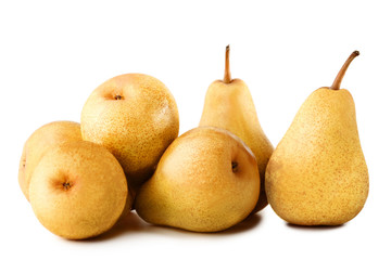 Ripe and sweet pears isolated on white
