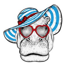 Behemoth in a summer beach hat. Vector illustration. Hippo.
