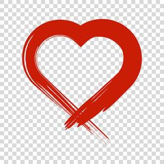 Image of the heart inflicted with a brush. Vector colored icon on white background.