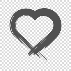 Image of the heart inflicted with a brush. Vector icon on white background.