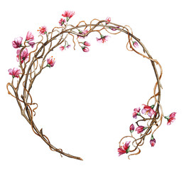 Wreath of flowers and branches. Painted in watercolor, isolated on white.