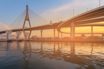 Suspension brige over watergate during sunset, Bangkok Thailand landmark