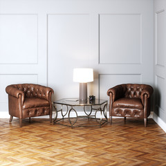 Vintage leather armchairs and glass table with lamp 3D render