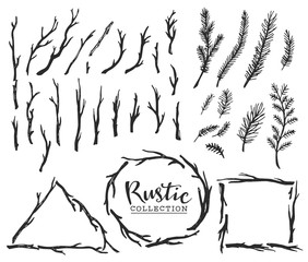 Hand drawn vintage wood tree branches and wreaths. Rustic decorative vector design set.