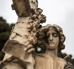 Statue in the cemetery of Montjuic in Barcelona. A place of worship and very visited with tourist routes
