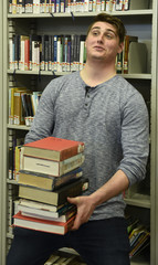 College student, library