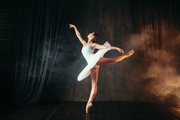 Ballerina in white dress dancing in ballet class