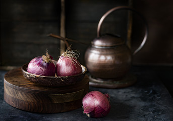 Onions in a rustic Kitchen