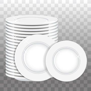Stack of white plates and two plates isolated. Vector