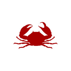 Vector illustration crab red silhouette. Crab icon. Seafood shop logo branding template for craft food packaging or restaurant design.