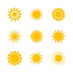 Yellow sun icon set isolated on white background. Modern simple flat sunlight, sign. Trendy vector summer symbol for website design, mobile app. Stock illustration