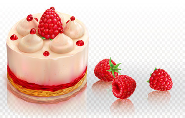 Creamy cake with raspberries