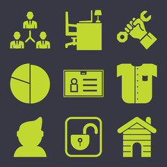 Business filled vector icon set on dark background