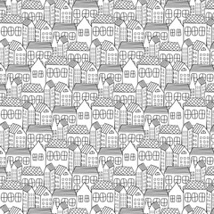 Hand Drawn Pattern With City Background. Vector Illustration.