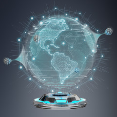 Globe network hologram projector with digital connection 3D rendering