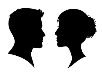 Man and woman silhouette face to face – stock vector