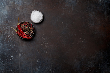 Spices. Salt and pepper