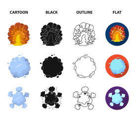 Flame, sparks, hydrogen fragments, atomic or gas explosion. Explosions set collection icons in cartoon,black,outline,flat style vector symbol stock illustration web.