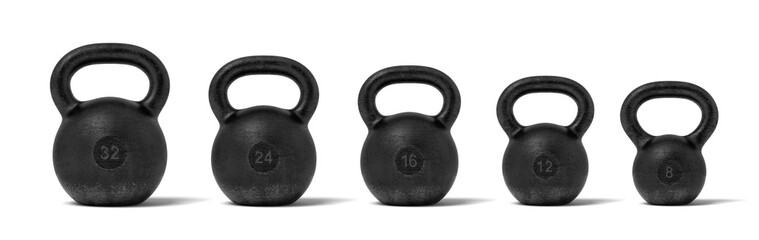 3d rendering of five black iron kettlebells in a single line with different weight stamps of 32, 24, 16, 12 and 8 kg.