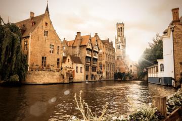 Der berühmte Rozenhoedkaai in Brügge, Belgien